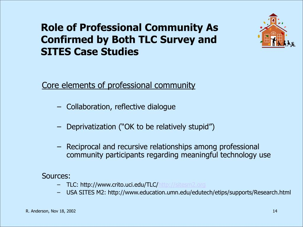 Role of Professional Community As Confirmed by Both TLC Survey and