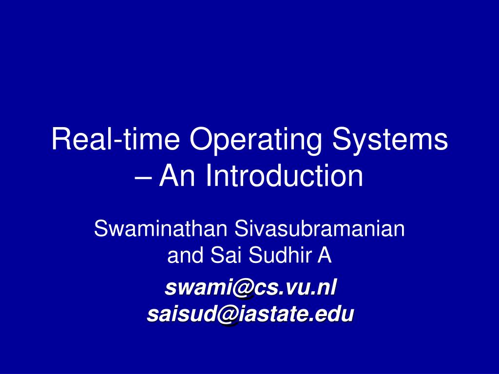 real time operating systems an introduction l.