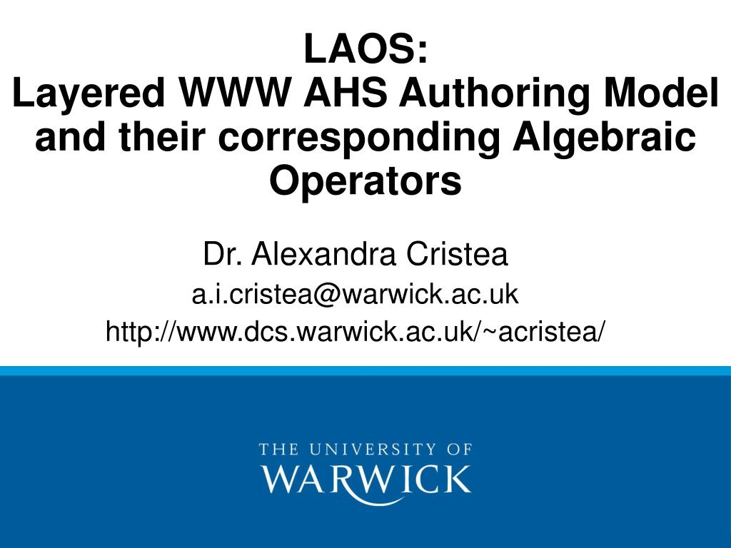 laos layered www ahs authoring model and their corresponding algebraic operators l.