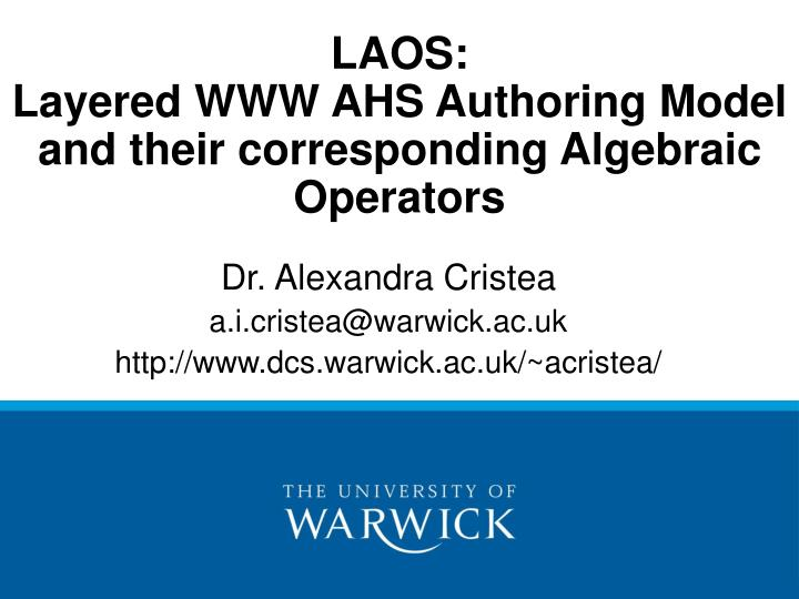 Laos layered www ahs authoring model and their corresponding algebraic operators