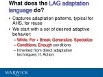 what does the lag adaptation language do
