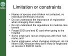 limitation or constraints