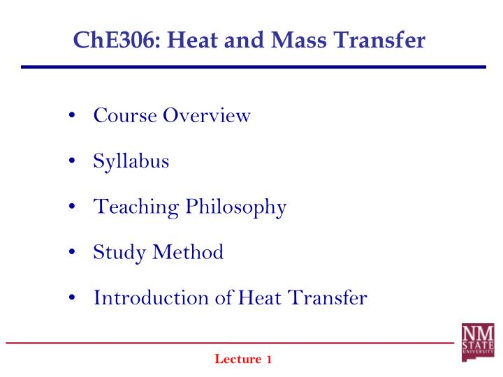 che306 heat and mass transfer n.