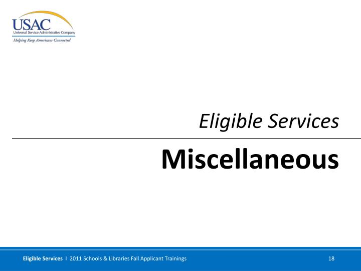 Eligible Services