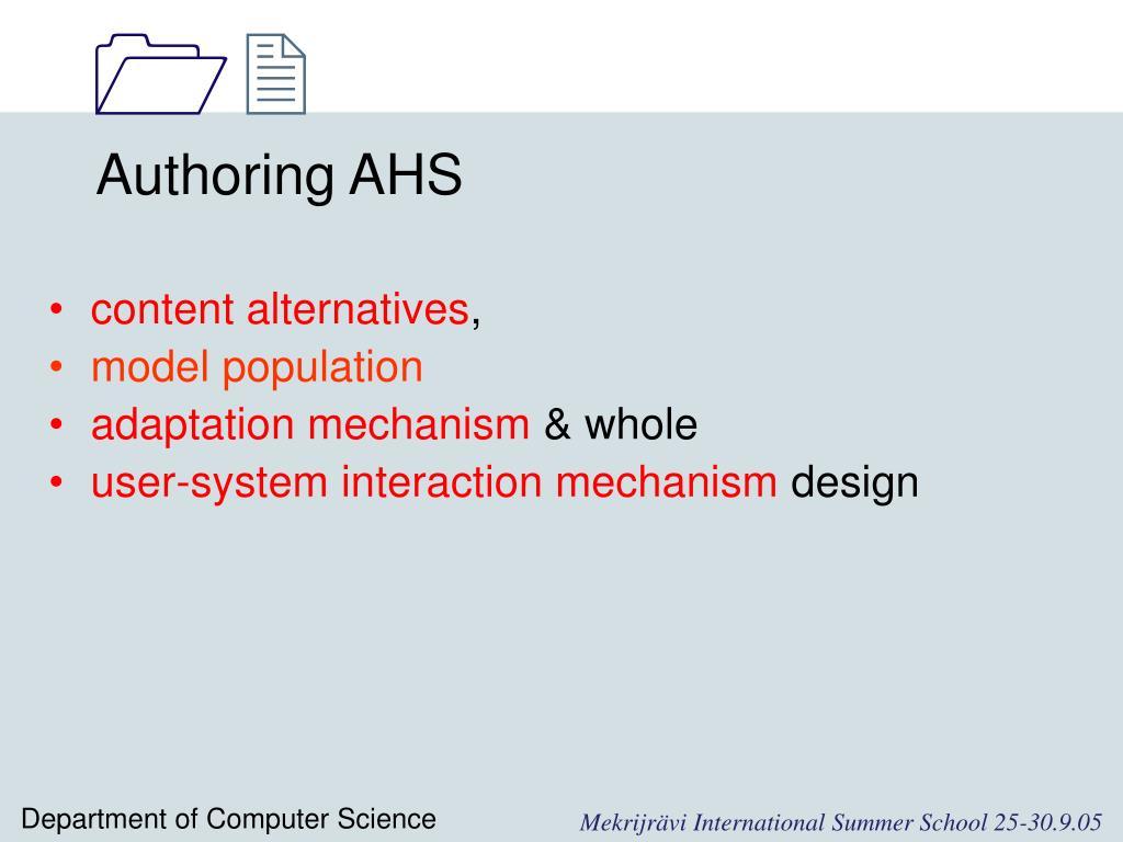 Authoring AHS