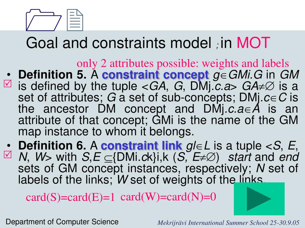 Goal and constraints model
