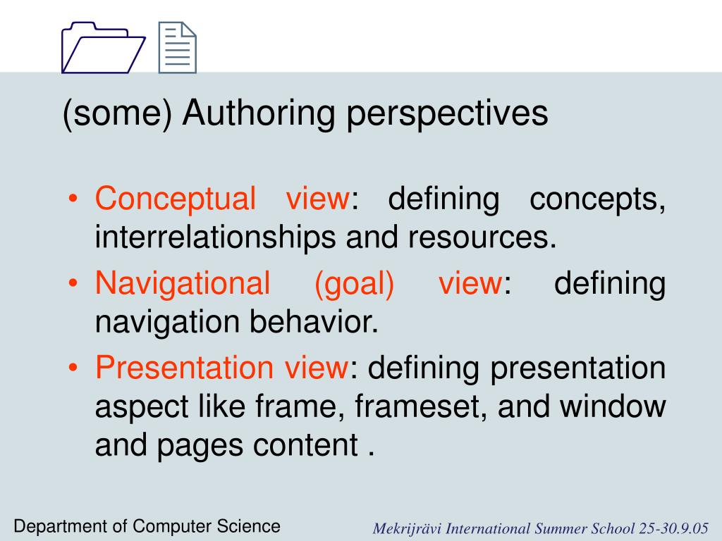 (some) Authoring perspectives