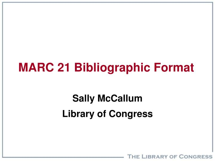 marc 21 bibliographic format n.