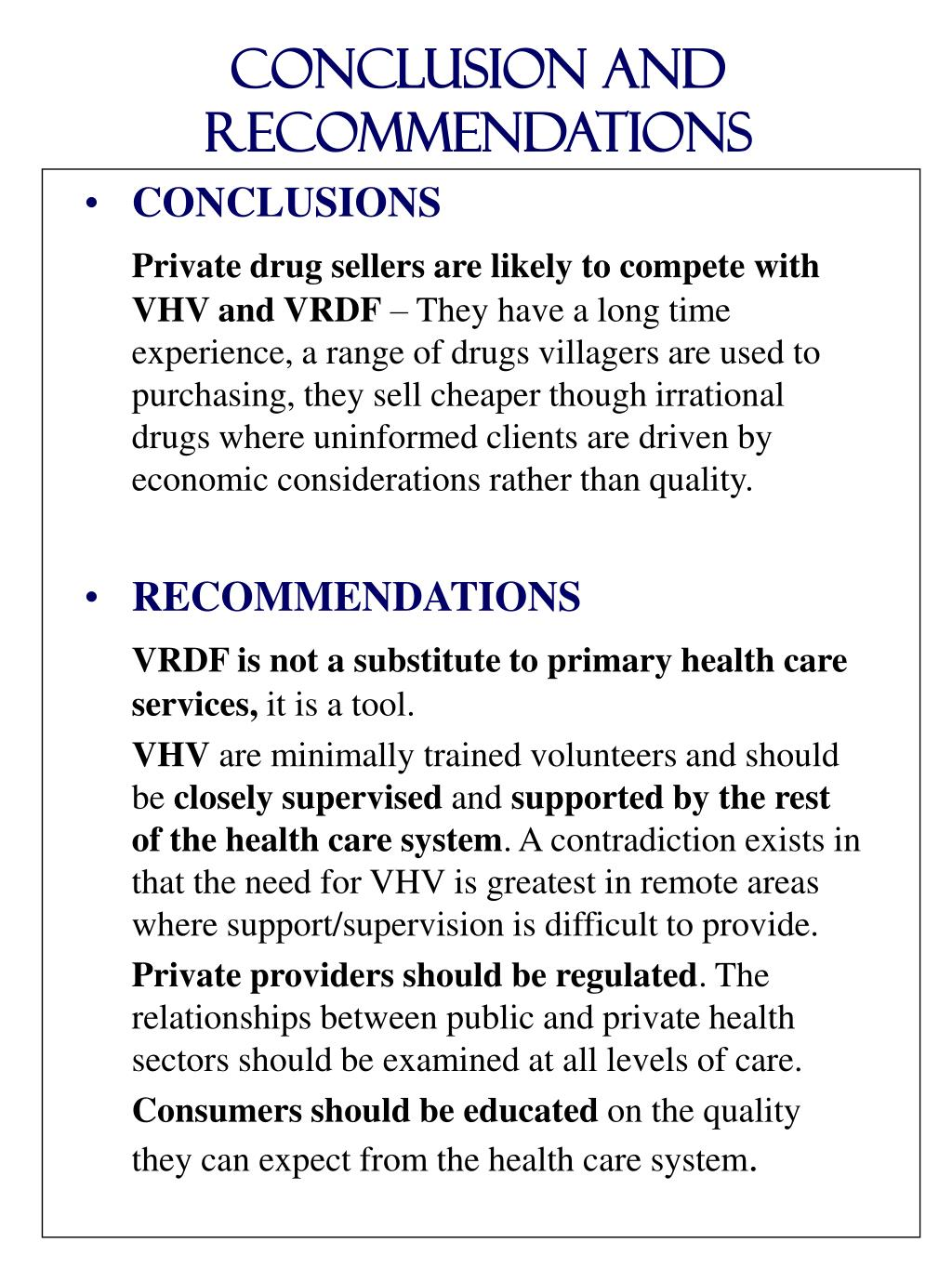 Conclusion and recommendations