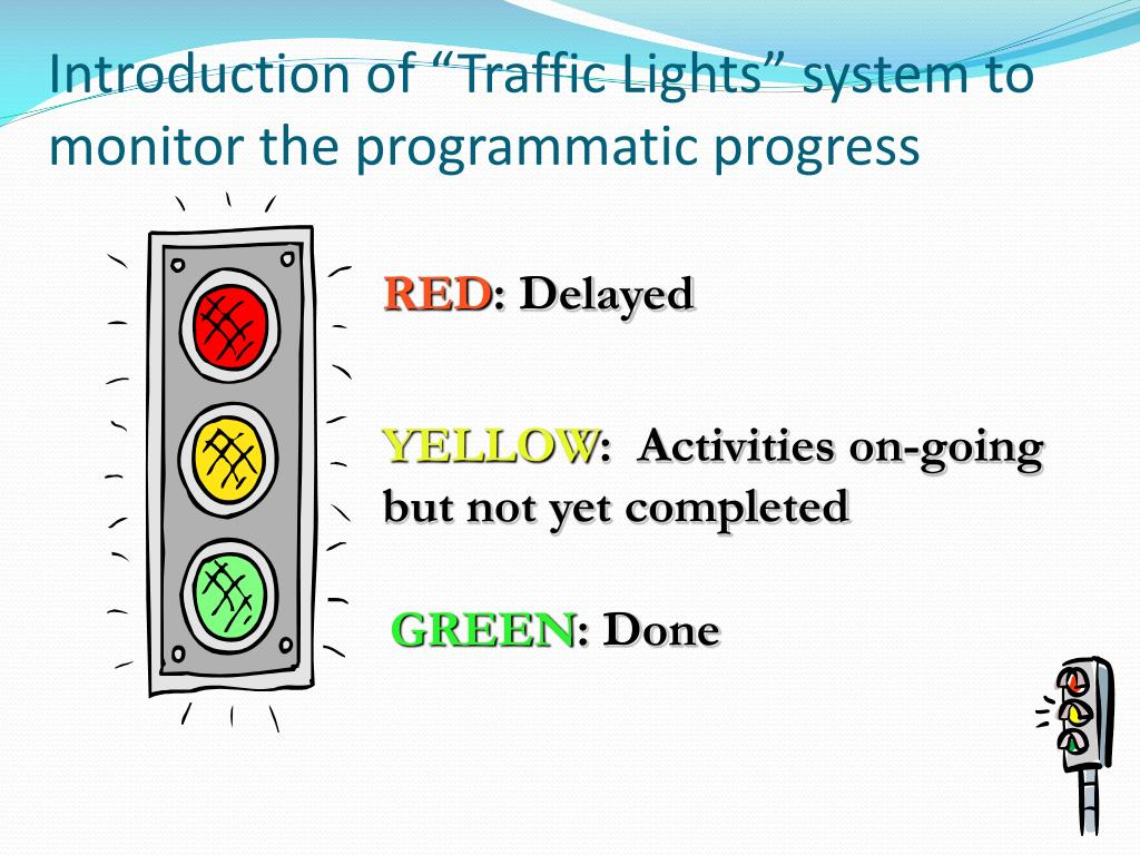 """Introduction of """"Traffic Lights"""" system to monitor the programmatic progress"""