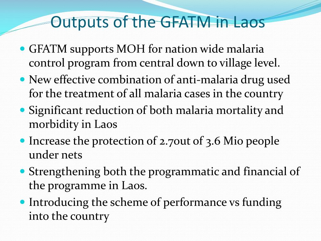Outputs of the GFATM in Laos