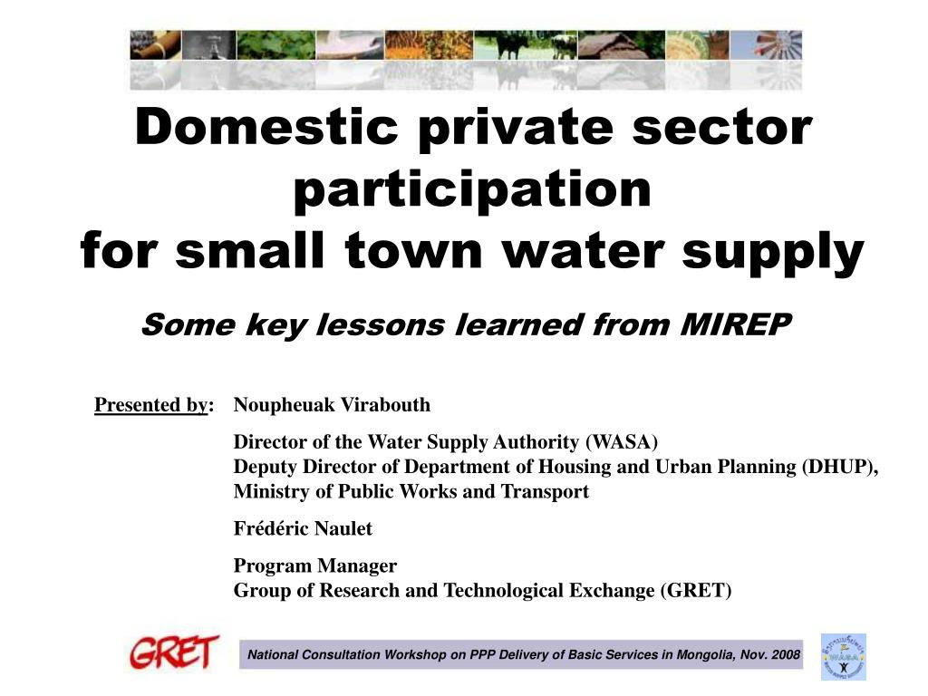 domestic private sector participation for small town water supply l.