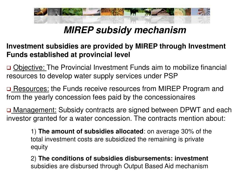 MIREP subsidy mechanism