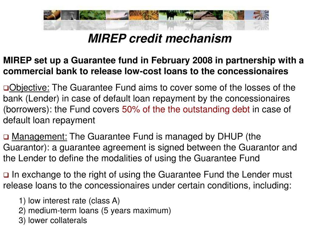 MIREP credit mechanism