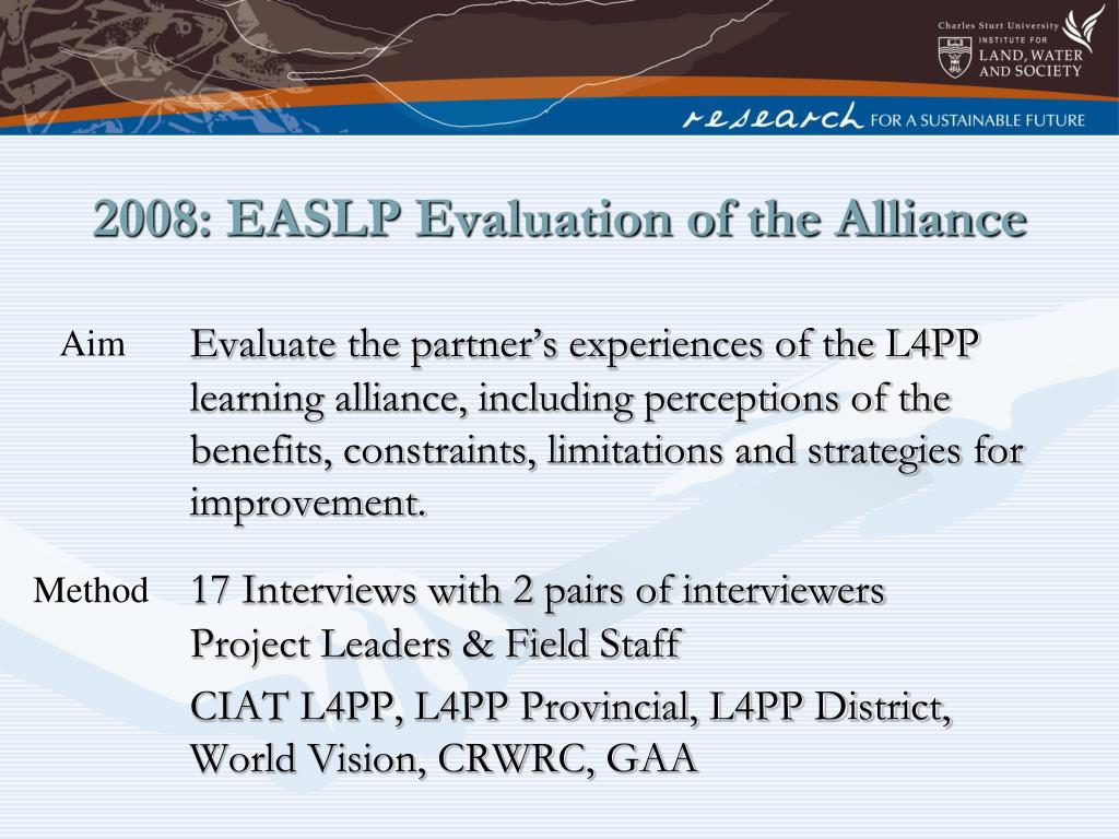 2008: EASLP Evaluation of the Alliance