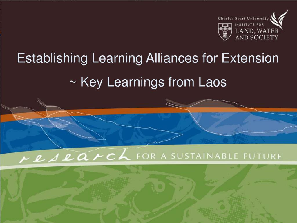 establishing learning alliances for extension key learnings from laos l.