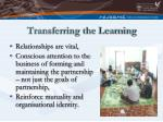 transferring the learning