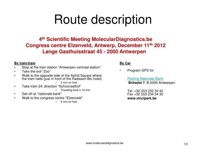 route description n.