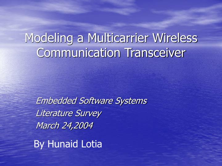 Modeling a multicarrier wireless communication transceiver