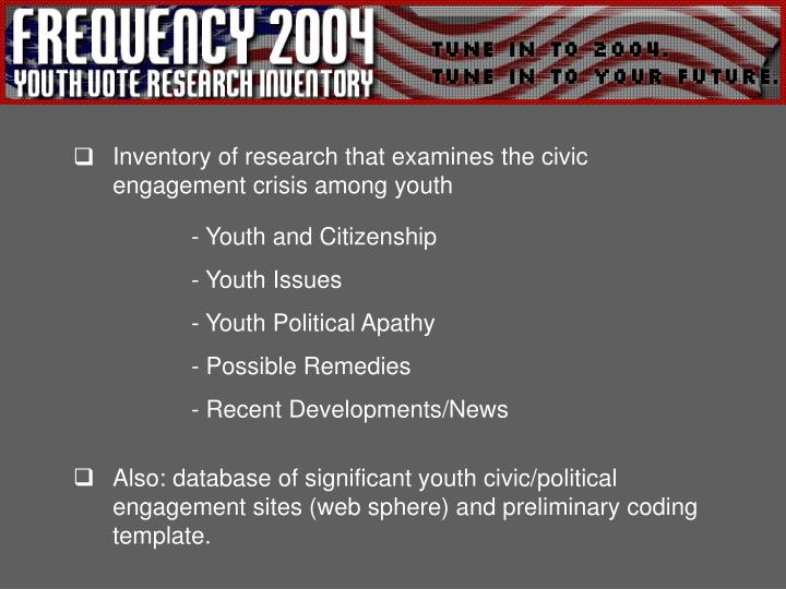 Inventory of research that examines the civic            engagement crisis among youth