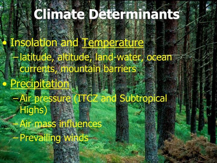 Climate determinants