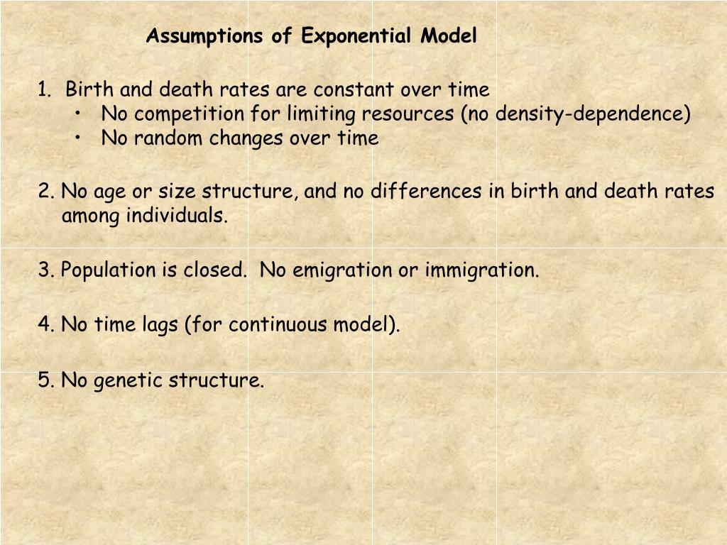 Assumptions of Exponential Model
