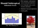 humid subtropical midlatitude forests