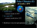 polar climates e all months 50 o f52