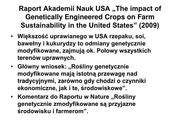 "Raport Akademii Nauk USA ""The impact of Genetically Engineered Crops on Farm Sustainability in the United States"" (2009)"