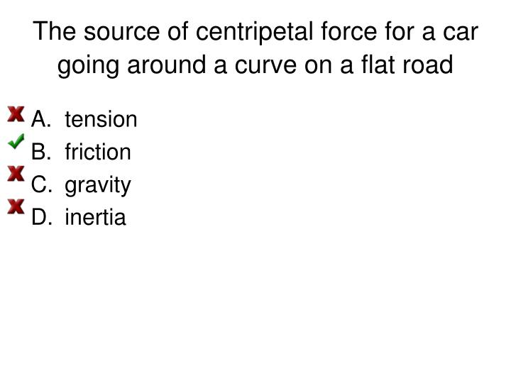 The source of centripetal force for a car going around a curve on a flat road
