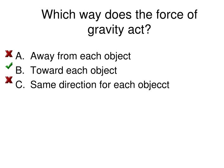 Which way does the force of gravity act?