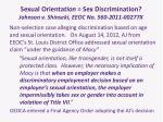 sexual orienta tion sex discrimination johnson v shinseki eeoc no 560 2011 00277x