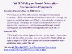 va eeo policy on sexual orientation discrimination complaints