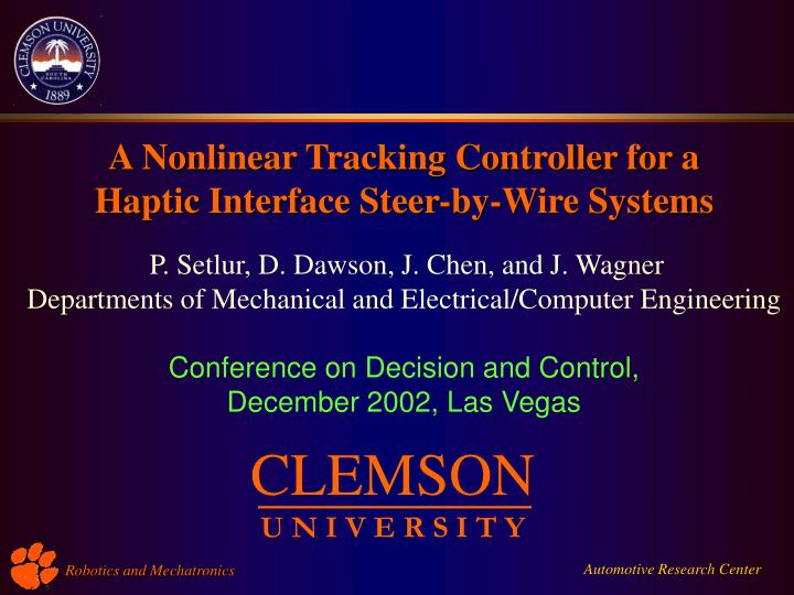 A Nonlinear Tracking Controller for a