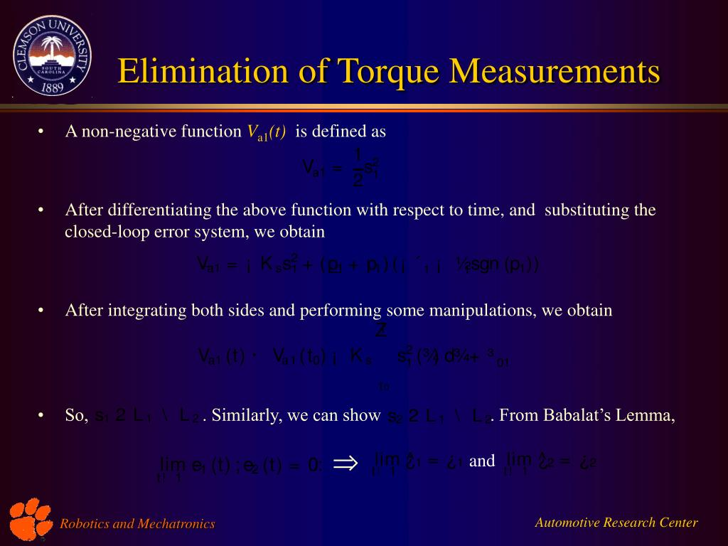 Elimination of Torque Measurements