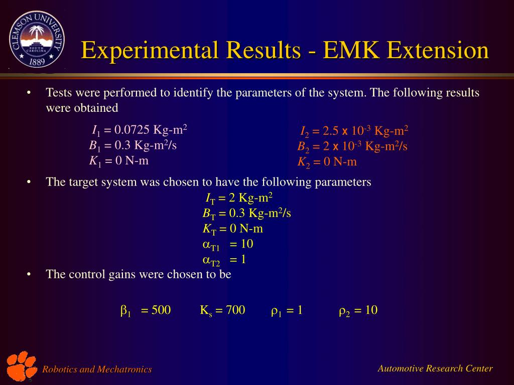 Experimental Results - EMK Extension