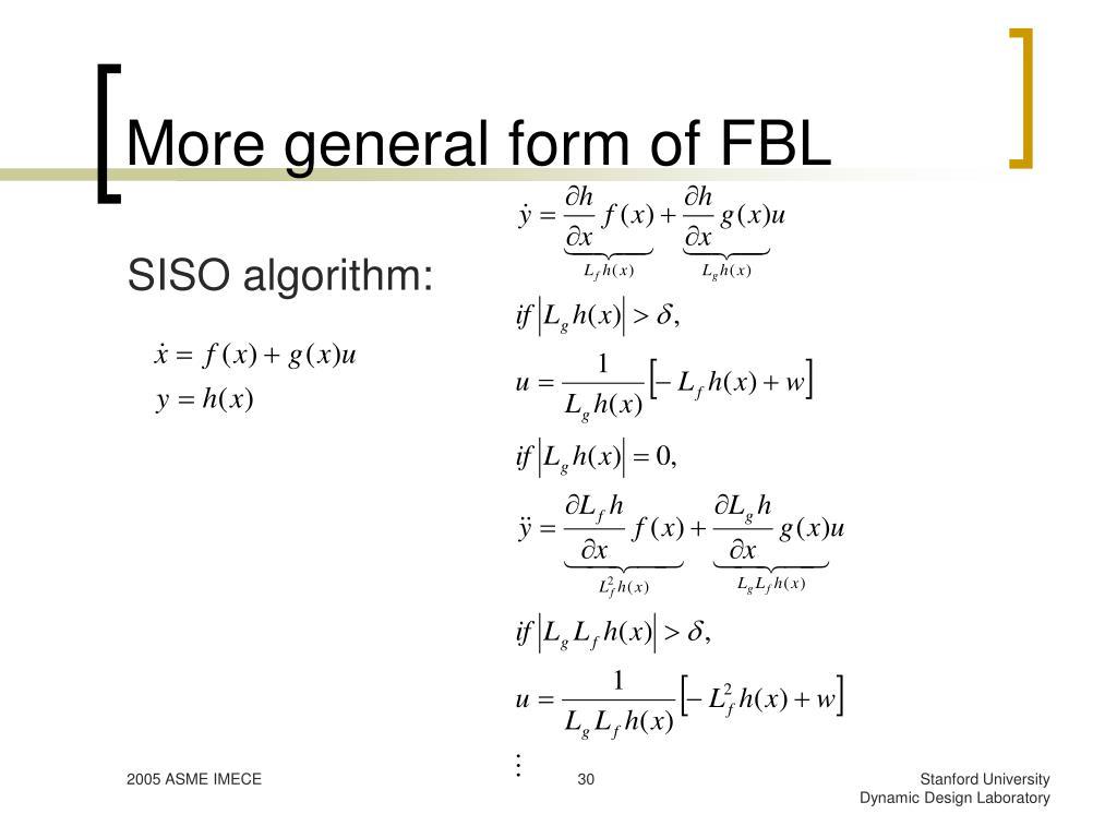 More general form of FBL