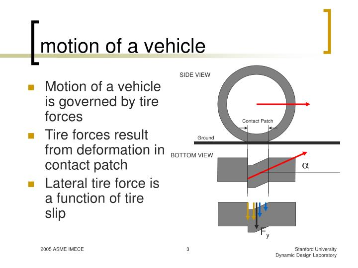 Motion of a vehicle