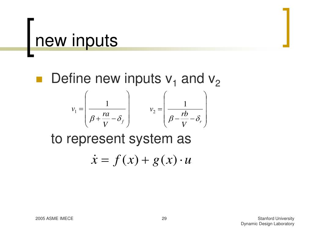 new inputs