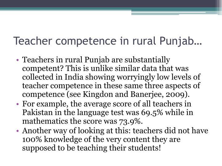 Teacher competence in rural Punjab…