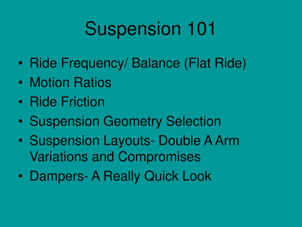 Suspension 101