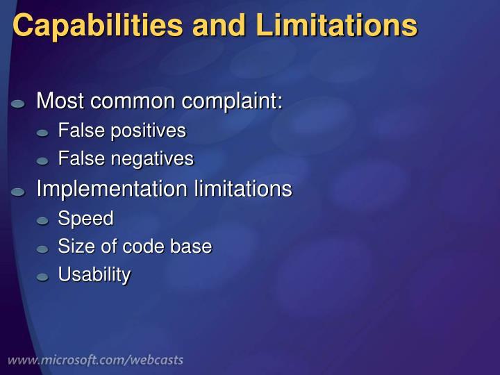 Capabilities and Limitations