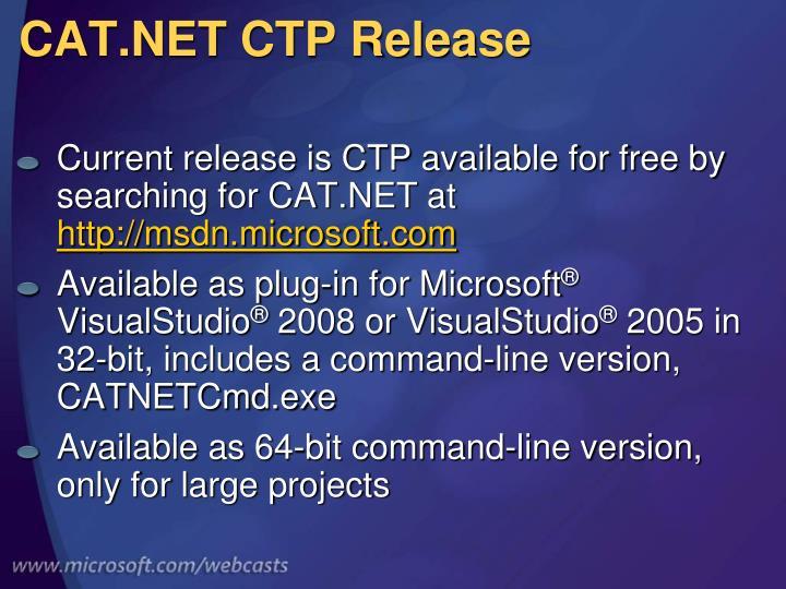 CAT.NET CTP Release