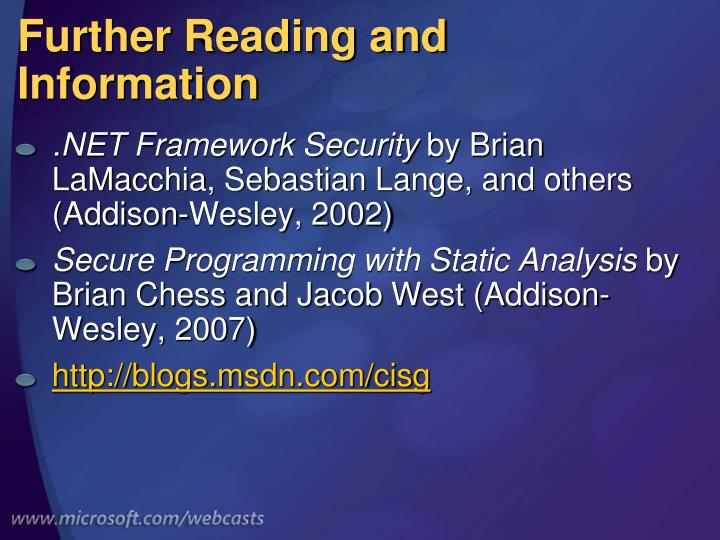 Further Reading and Information
