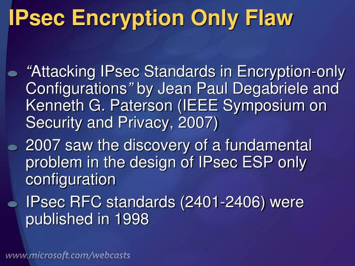 IPsec Encryption Only Flaw