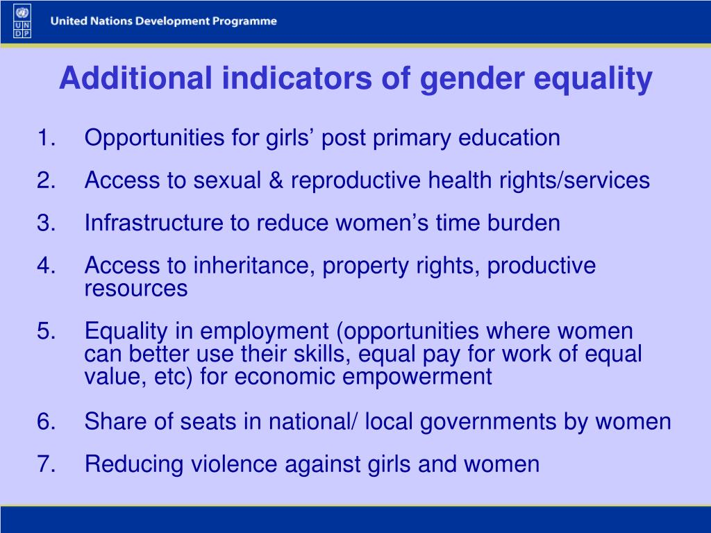 Additional indicators of gender equality