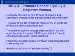mdg 3 promote gender equality empower women14