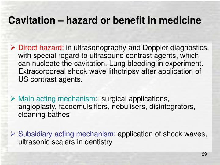 Cavitation – hazard or benefit in medicine