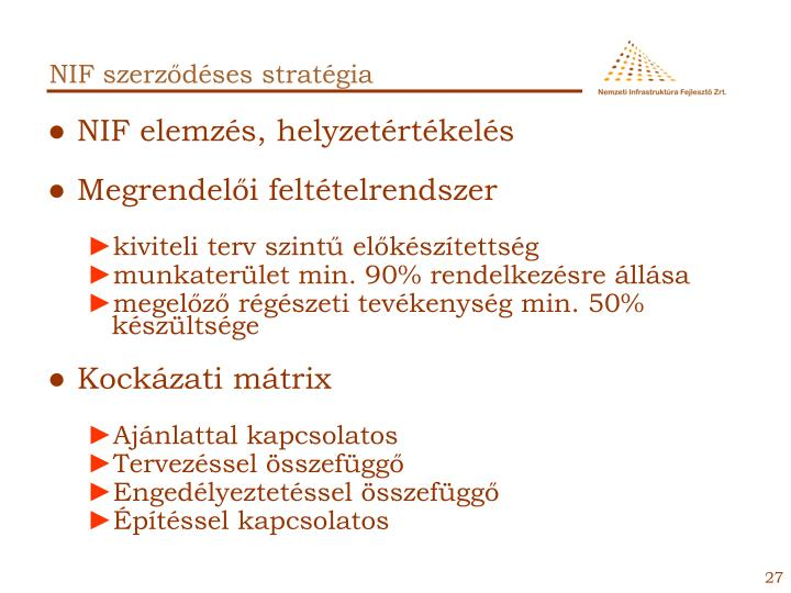 NIF szerződéses stratégia