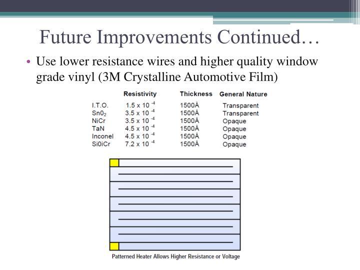 Future Improvements Continued…